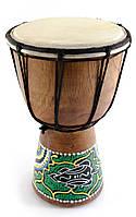 Барабан расписной дерево с кожей (20х11.5х11.5 см)