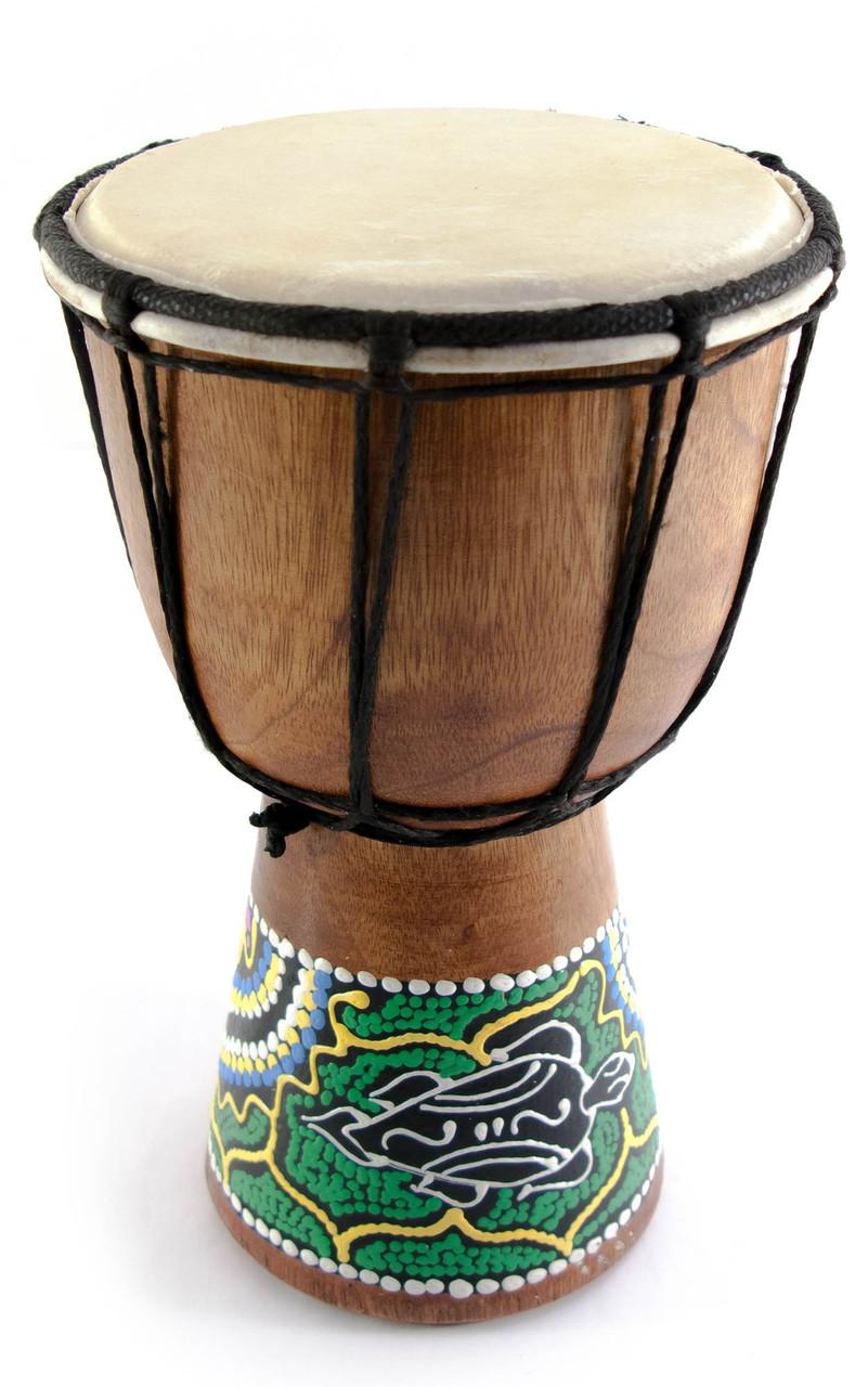 Барабан расписной дерево с кожей (20х11.5х11.5 см) - Магазин подарков Часики в Харькове