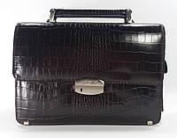 Борсетка кожаная мужская классическая Desisan 1086 19 темно-коричневая (кофе) кроко