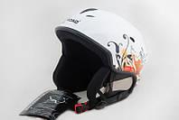 Горнолыжный шлем VS 670 белый с цветочками