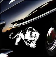 Наклейка для автомобиля белая пантера 3D 19.5*13.6см