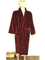 Чоловічий махровий халат Softcotton Platinum бавовна бордо, фото 1