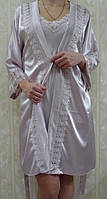 Комплект ночная сорочка и халат атласный Jasmin цвет пудра,размер L,XL