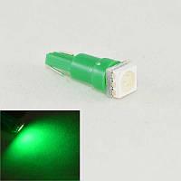 Светодиодная лампа в подсветку панели приборов  с цоколем T5(W2x4,6d)(W1.2) 1-5050 12V-Зеленый