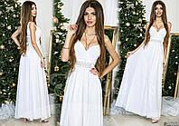 Шикарное белое вечернее платье с атласным поясом со стразами. Арт-9315/65