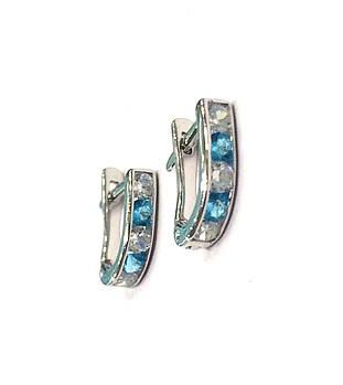 Детские серебряные серьги Дорожка с голубыми камнями