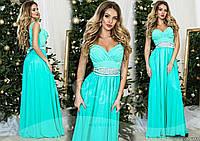 Шикарное мятное  вечернее платье с атласным поясом со стразами. Арт-9315/65