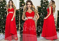 Шикарное красное  вечернее платье с атласным поясом со стразами. Арт-9315/65