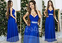 Шикарне вечірнє плаття з атласним поясом зі стразами, колір електрик. Арт-9315/65