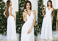 Белое вечернее платье украшенное стеклянными стразами. Арт-9316/65