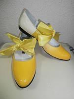 Кожаные желтые балетки с лентами Montpellier, 38р.