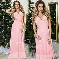 Розовое  вечернее платье украшенное стеклянными стразами. Арт-9316/65