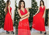 Красное  вечернее платье украшенное стеклянными стразами. Арт-9316/65