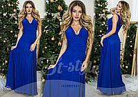 Красивое  вечернее платье украшенное стеклянными стразами, цвет электрик. Арт-9316/65