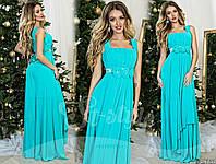 Красивое мятное шифоновое платье с атласным поясом крашеным цветами. Арт-9317/65