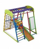 Детский игровой комплекс для дома «Юнга» с горкой, рукоходом, мольбертом, счетами, сеткой, кольцами ТМ SportBaby Юнга
