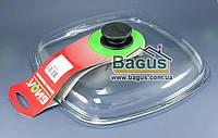 Крышка стеклянная квадратная 28х28см для сковород гриль (высокая) Биол (КС280)