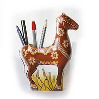 Карандашница Лошадь,  коричневая, фарфор, подарок, канцтовары, фото 1