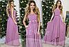 Красивое лиловое  шифоновое платье с атласным поясом крашеным цветами. Арт-9317/65