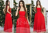 Красивое красное  шифоновое платье с атласным поясом крашеным цветами. Арт-9317/65