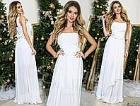 Красивое белое  шифоновое платье с атласным поясом  украшеным цветами. Арт-9317/65