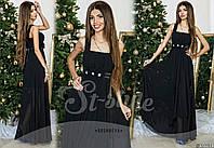 Красивое черное  шифоновое платье с атласным поясом  украшеным цветами. Арт-9317/65