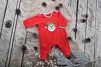 """Праздничный новогодний комбинезон """"Little Santa"""" для малыша от 3 месяцев до 1 года (размер 62-80) ТМ MagBaby Красный"""