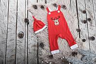"""Праздничный новогодний комбинезон """"Помощник Санты"""" для малыша от 1 до 2 лет (размер 80-92) ТМ MagBaby Красный"""