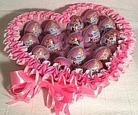 """Коробка-сердце с шоколадными яйцами """"Kinder surprise"""" Киндер сюрприз 15 шт"""
