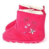 Утепленные пинетки - угги для новорожденной девочки Berni Розовые