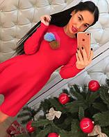 Женское модное платье с меховыми бубонами, фото 1