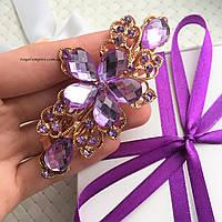 """Заколка """"Анна"""" нарядная, фиолетовая."""