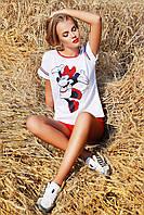 Молодежная белая блузка с изображением Микки Мауса Mickey блуза Кимоно 2Н к/р