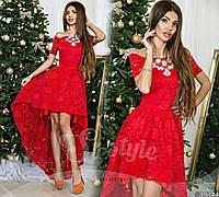 Шикарное красное  гипюровое нарядное  платье. Арт-9320/65