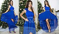 Вечернее шифоновое платье с цветком на плече, цвет электрик. Арт-9321/65