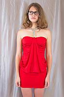 Женское красное вечернее мини платье с камнями