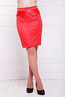 Красная прямая женская юбка, длиной выше колена мод. №12