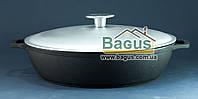 Жаровня чугунная 260х66 мм с литыми ручками и алюминиевой крышкой Биол (03261-1)