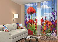 """ФотоШторы """"Маки и полевые цветы"""" 2,5м*2,6м (2 половинки по 1,30м), тесьма"""