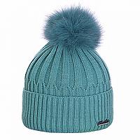 Зимняя шапка с помпоном из песца