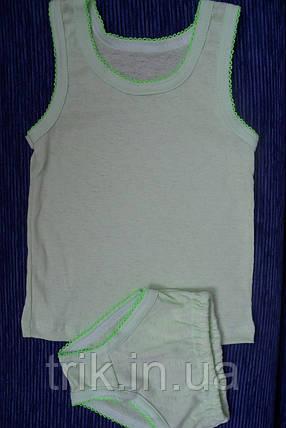 Комплект нижнего белья для девочки оливковый мультирип отделка крошет, фото 2