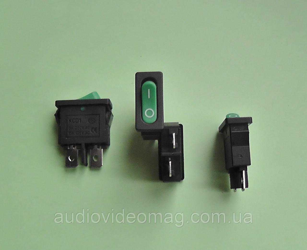 Переключатель клавишный KCD1 250V 6A, зеленый 18.8 х 6.5мм
