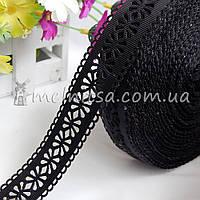 Лента репс с перфорацией цветок, 25 мм, черная