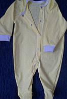 Человечек хлопковый легкий желтый полотно мультирип