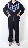 Женский велюровый спортивный костюм больших размеров - стрелы (синий)