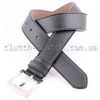 Ремень для брюк LMi 40 мм эко кожа черный с белой строчкой