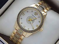 Женские кварцевые наручные часы Versace золотого цвета с орнаментом, фото 1