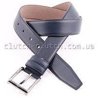 Ремень для брюк LMi 35 мм эко кожа синий со строчкой