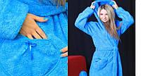 Жіночий махровий халатик з кишенями-сердечками.Розміри 42-50