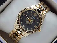 Женские кварцевые наручные часы Versace с орнаментом черный циферблат, фото 1